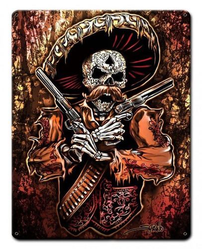 Mexican Gun Fighter Metal Sign 12 x 15 Inches