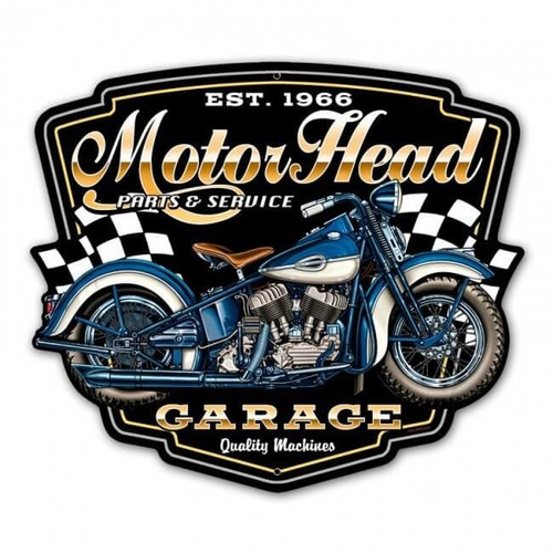 Motorhead Garage Metal Sign 16 x 14 Inches