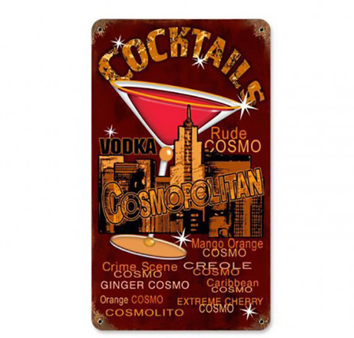Cosmo Cocktails Metal Sign 8 x 14 Inches