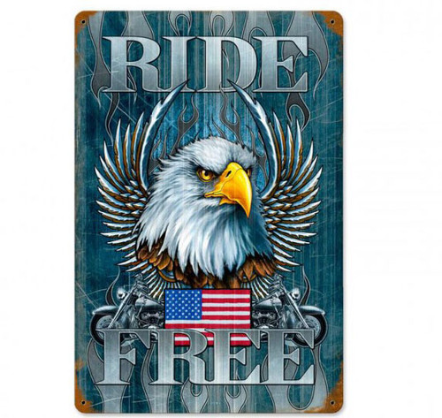 Ride Free Metal Sign 12 x 18 Inches