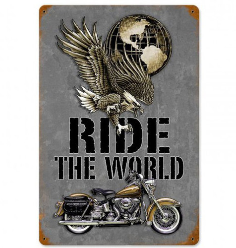 Ride The World Metal Sign 12 x 18 Inches
