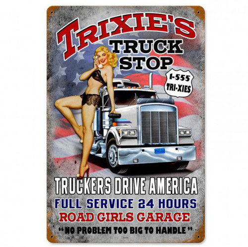 Trixies Truck Stop Metal Sign 12 x 18 Inches