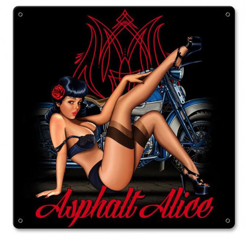 Asphalt Alice Pinup Metal Sign 18 x 18 Inches