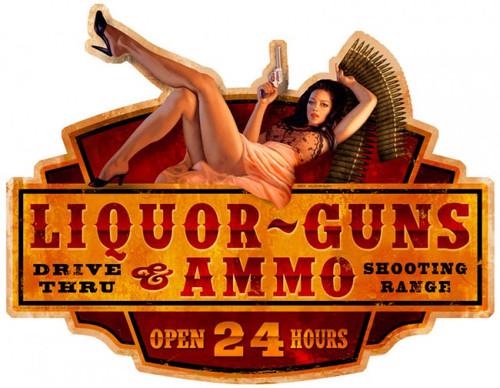 Liquor Guns Ammo Metal Sign 28 x 22  Inches