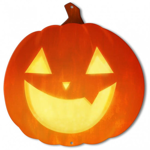 Jack O Lantern Metal Sign 14 x 14 Inches
