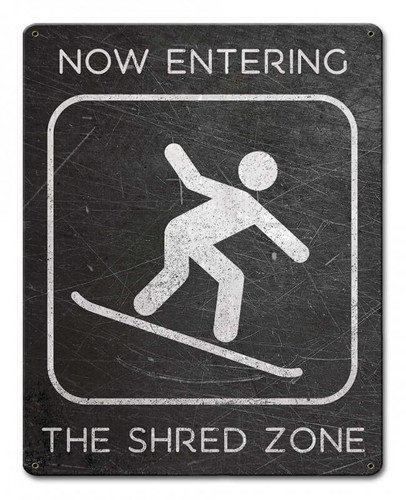 Shred Zone Snowboard Distressed Metal Sign
