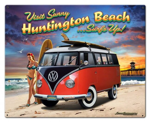 Huntington Beach VW Metal Sign 30 x 24 Inches