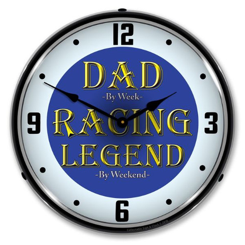 Dad the Racing Legend Lighted Wall Clock 14 x 14 Inches