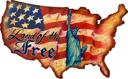 Land Of The Free USA Metal Sign 19 x 12 Inches