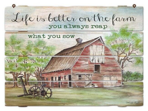 Life is Better on the Farm Metal Sign 19 x 14 Inches