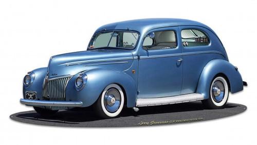 1939 Rod Sedan Rt 66 Cutout Metal Sign 30 x 14 Inches