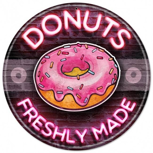 Donuts Freshly Made Metal Sign 14 x 14 Inches