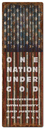 PAT One Nation Metal Sign 10 x 30 Inches