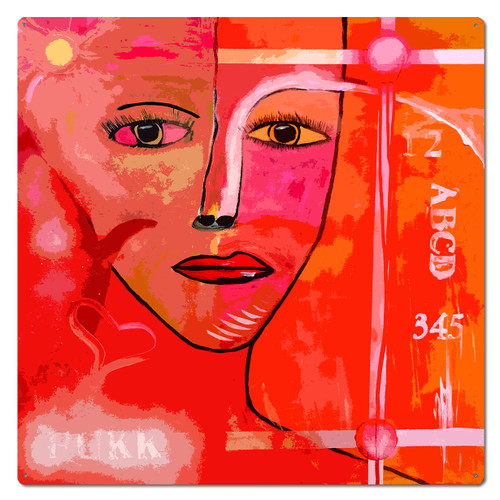 Bright and Colorful Woman Metal Sign 28 x 28 Inches