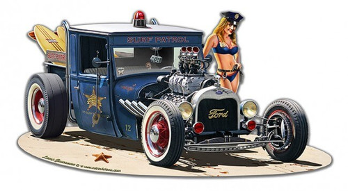 1929 Rat Rod Surf Patrol Metal Sign 18 x 10 Inches