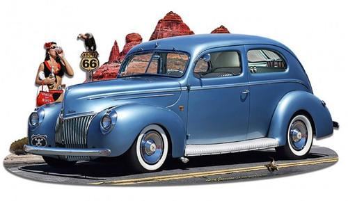 1939 Rod Sedan Cutout Metal Sign 18 x 10 Inches