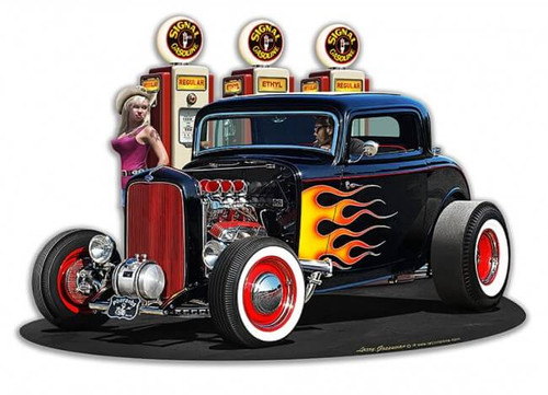 1932 Deuce Coupe Fillup Metal Sign 18 x 15 Inches