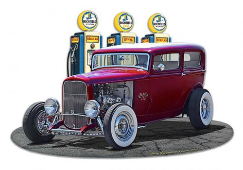 1932 Rod Sedan Fill-up Metal Sign 18 x 15 Inches