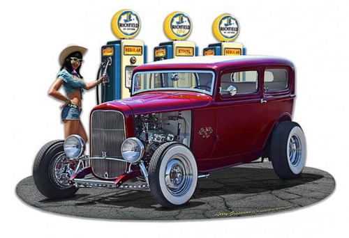 1932 Rod Sedan Fill-up WG Metal Sign 18 x 15 Inches