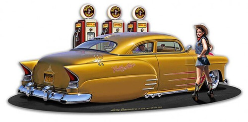 1954 Chev Led Sled Fillup WG Metal Sign 18 x 10 Inches
