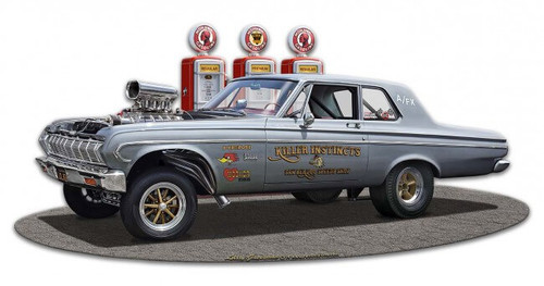1964 Plymouth Gasser Metal Sign 18 x 9 Inches
