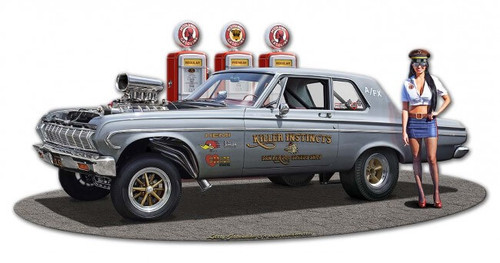1964 Plymouth Gasser WG Metal Sign 18 x 9 Inches