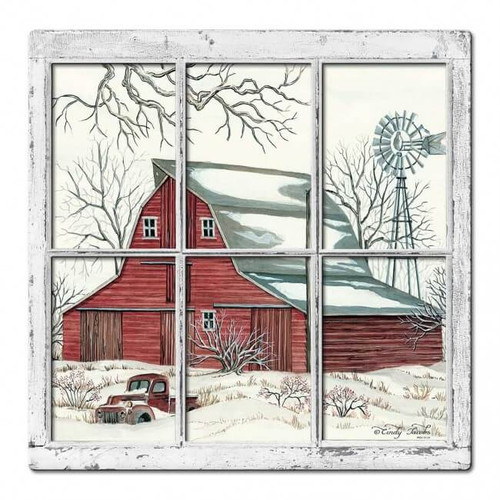 Winter Barn 3D Metal Sign 17 x 17 Inches