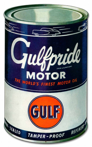 Gulf Motor Oil Can Metal Sign 14 x 20 Inches