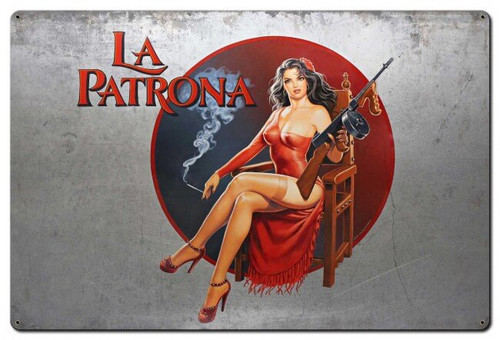 La Patrona Pinup Metal Sign 36 x 24 Inches