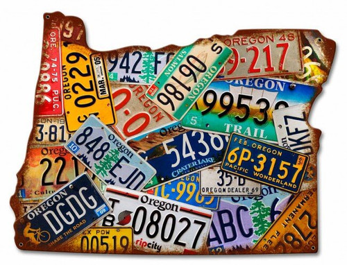 Oregon License Plates Metal Sign 19 x 14 Inches