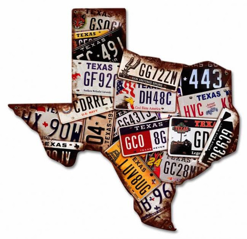 Texas License Plates Metal Sign 19 x 19 Inches