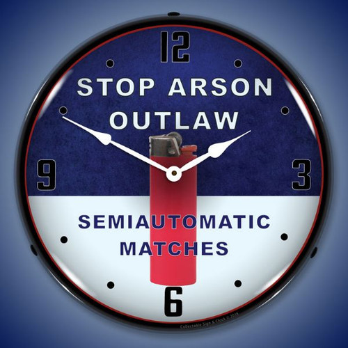 Stop Arson LED Lighted Wall Clock 14 x 14 Inches