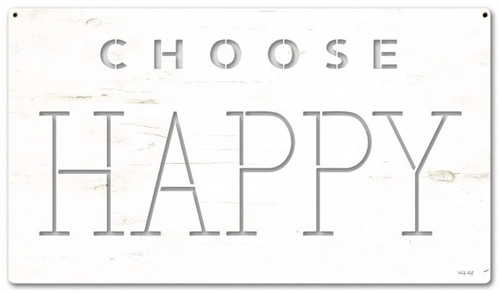 Choose Happy Metal Sign 28 x 16 Inches