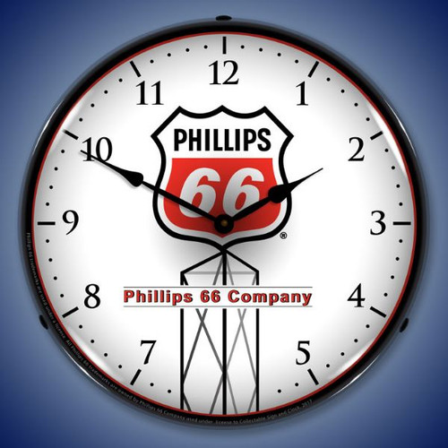 Phillips 66 Red - LED Lighted Wall Clock 14 x 14 Inches