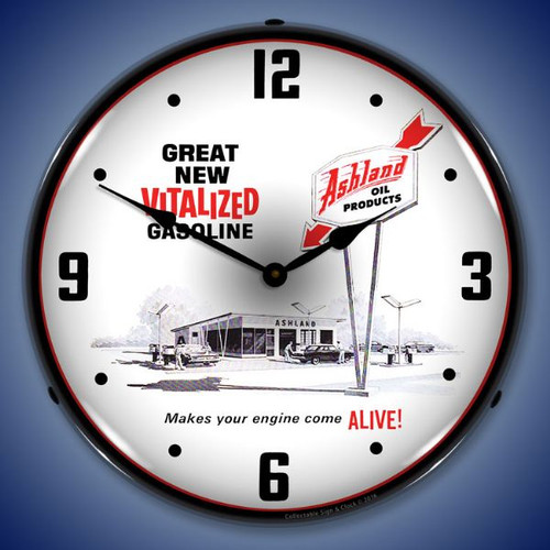 Ashland Oil LED Lighted Wall Clock 14 x 14 Inches