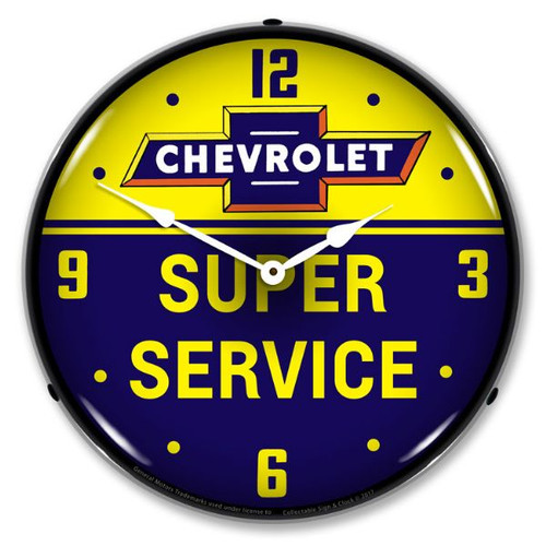 Chevrolet Bowtie Super Service LED Lighted Wall Clock 14 x 14 Inches
