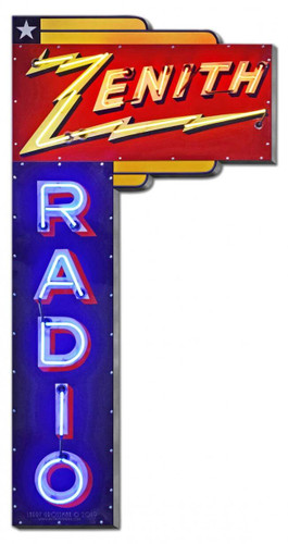 1936 Zenith Radio  Metal Sign 15 x 30 Inches