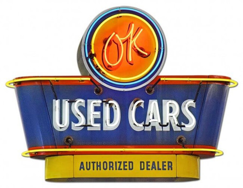 1950's OK Used Cars Metal Sign 30 x 23 Inches