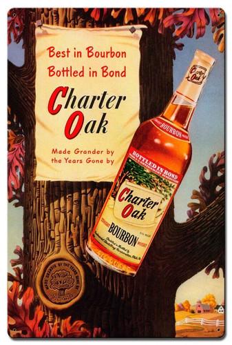 Charter Oak Bourbon Metal Sign 16 x 24 Inches