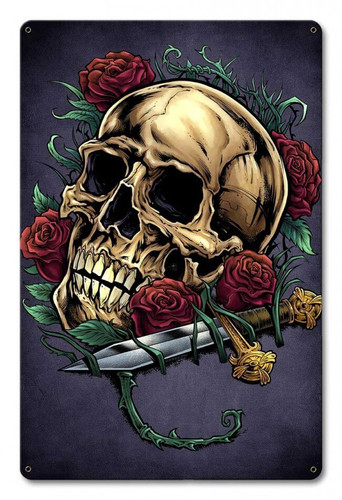 Skull Roses and Dagger Metal Sign 12 x 18 Inches