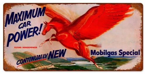 Mobilgas Maximum Power Metal Sign 24 x 12 Inches