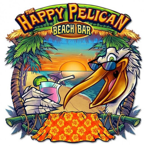 Happy Pelican Beach Bar Metal Sign 20 x 20 Inches