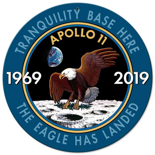 Apollo 11 50th Anniversary Mission Insignia Metal Sign 14 x 14 inches