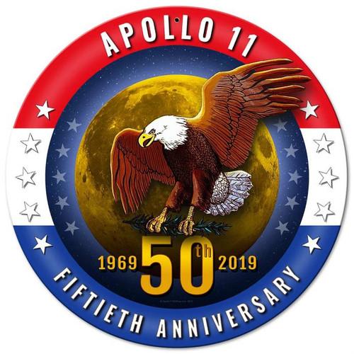 Apollo 11 50th Anniversary Patriotic Metal Sign 14 x 14 inches