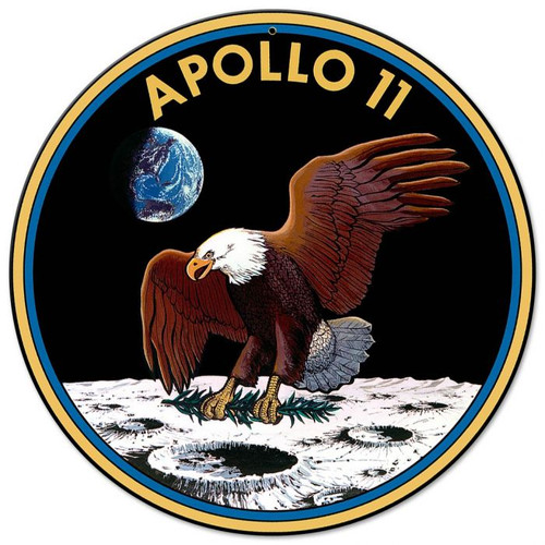 Apollo 11 50th Anniversary Mission Patch Insignia Metal Sign 14 x 14 inches