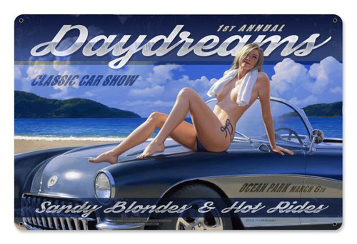 Daydreams Classic Car Show Pinup Metal Sign 12 x 18 Inches