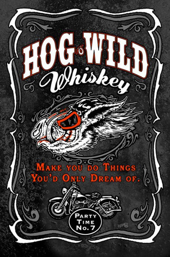 Hog Wild Whiskey Metal Sign 12 x 18 Inches