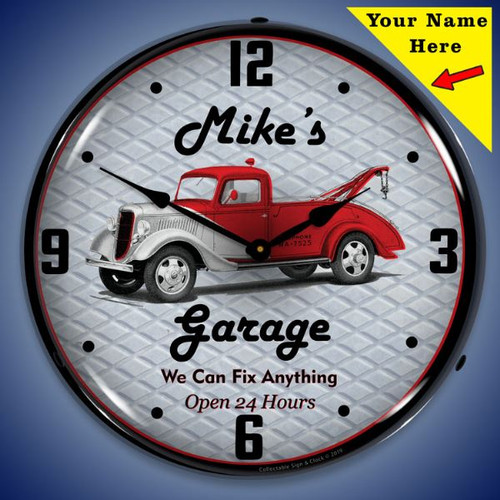 Personalized Garage LED Lighted Wall Clock 14 x 14 Inches (Add Your Name)
