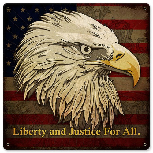 Liberty And Justice For All Metal Sign 12  x 12 Inches