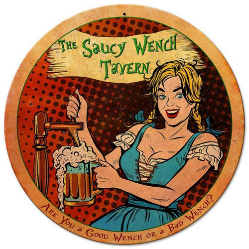 Saucy Wench Tavern Metal Sign 14 x 14 Inches